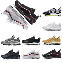 Wholesale mens shoes 45 - 2018 97 Mens Shoe classic Running Shoe 97s triple Black White japan Sliver Bull Trainer Cushions Breathable Mens women Sports Shoe 36-45