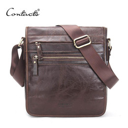 Wholesale male coffee - CONTACT'S New Fashion Genuine Leather Man Messenger Bags Cowhide Male Cross Body Bag Casual Men Commercial Briefcase Bag