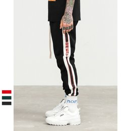 Wholesale loose sweatpants - 2018 New Fashion vintage college side striped Men's Sports Pants Male hip hop Trousers Mens Joggers Solid Pants Sweatpants