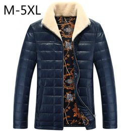Wholesale mens winter snow coats - Duck Down Jackets Mens PU Leather Coats Winter Down Parkas Fur Collar Warm Outwear Overcoat Waterproof Snow Clothes 5XL 2017