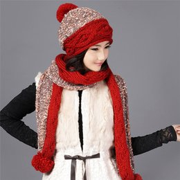 b6818814bca83e Charles Perra Frauen Hut Schal Sets Winter verdicken Wolle gestrickte Hüte  mit Hairball Casual handgemachte gewebte Woolen Beanies Caps 9582 wollmütze  schal ...