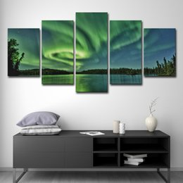 paesaggio paesaggi d'arte montagne Sconti Home Decor Wall Art Stampe HD Poster 5 Pezzi Green Forest Aurora Mountains Lake Landscape Paintings