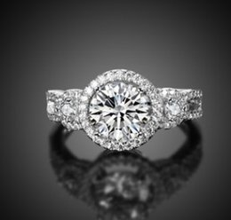Wholesale round ring mount setting - Romantic Women fashion jewelry S925 sterling round diamond mounted engagement ring bride wedding marriage Christmas festival gift love