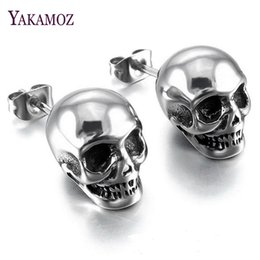 Wholesale Wholesale Price Jade - YAKAMOZ Punk & Rock Skull Stud Earrings for Men Gothic Style Steel Color Earring Charm Earrings Wholesale Price Birthday Gifts