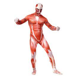 2019 trajes de corpo inteiro para adultos Ataque Em Titan Trajes Cosplay Spandex Lycra Segunda Pele Apertado Terno Adulto Muscular Bodysuit Corpo Inteiro Bertolt Hoover Zentai trajes de corpo inteiro para adultos barato