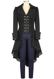 Vêtements victoriens en Ligne-Steampunk Manteau Femmes Adulte Tuxedo Noir Gothique Victorian Lady Manteau Costume Steampunk Cosplay Vêtements Halloween
