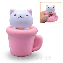 Wholesale Rose Mug - Squishies Cat In Cup New Squishys Mug Slow Rising Toys Kawaii Animal DHL Free Shipping SQU044