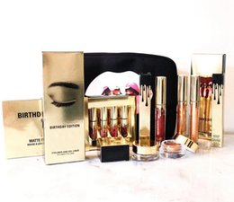 Wholesale Wholesale Birthday Bags - 2017 Cosmetics K Birthday Collection Matte Lipgloss Bundle Bronze Copper Creme Shadow Makeup Bag Set Free Shipping