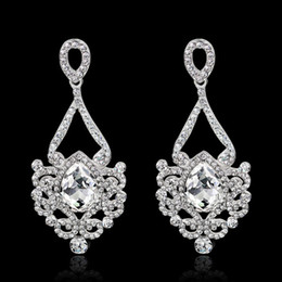 Wholesale hanging crystal drops - Crystal Long Hanging Earrings Eagle drop rose gold Silver Color Rhinestone Bridal Wedding Dangle Earrings Jewelry drop shipping 170772