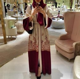 Canada 2018 Mode Red Print Muslim Dress Femmes Abaya Moyen-Orient Long Robe Robe Ramadan Dubaï Arabe Islamique Vêtements Offre