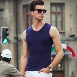 1abd1b61f4b6 New Blue Men Tank Top Casual Fitness Singlets Brand Mens T-Shirt Sleeveless  Contracted Vest Solid Color Modal undershirt