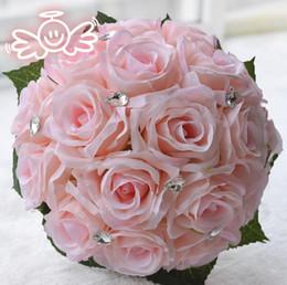 2019 flores para decorações do casamento Lindo 3 Cores Bouquets De Casamento Com Pérolas De Strass 2018 Artificial Rose Flores Decoração Da Dama De Honra Vestido De Noiva De Noiva flores para decorações do casamento barato