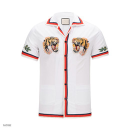 Wholesale Breast Head - 2018 Men's Casual Shirts Brand Luxury Shirts for man Tiger Head Flower embroidery Designer Single Breasted With Brand tags Polo Tees