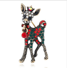 Wholesale Antique Rhinestone Brooches - Christmas Suit Pins Antique Silver Gold Colour Crystals Brooches Brooch Raindeer Bear Christmas Boots Bouquet Rhinestone Brooch For Women