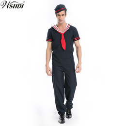 sailor uniform cosplay Promo Codes - 2018 Adult Men's Halloween Costumes Sailor Costume Blue Navy Cosplay Game Uniforms