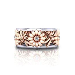Wholesale Gold Jewellery Designs - Luxury Jewellery Crystal Flower crystal Infinite Rings Fashion Design Statement Rose Gold Sliver Color Ring Wedding Jewelry 080304