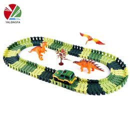 puzzle toy set 2018 - DIY Tracks Assembly Toy Slot Car Set with LED Car Flex glows in the dark Race Track Puzzle Toys Slot Car Gift for children kids B