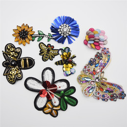 Wholesale Bead Trimming - 10pcs Handmade Beads Crystal Sew on Patches Strass Rhinestones Applique Trim