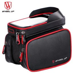 Wholesale bicycle accessories bag - WHEEL UP 6.2 Inch Waterproof Touch Screen bike Bag Front Frame Top Cell Phone TPU Cycling Bag MTB Mountain bicycle accessories