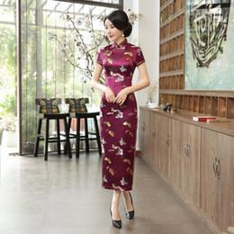 Vestidos de seda de quinceañera online-JX208 Envío gratis ropa tradicional china Qipao largo vestido estilo folk Faux Seda cheongsam Oriental Dress 6 Color