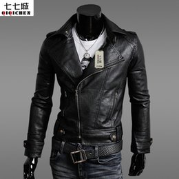 Wholesale Genuine Brown Leather Jackets - Wholesale- New 2017 Brand Men Leather Jacket Top Quality Male Autumn Winter Leather Jacket Male Fashion Leather Coat Men