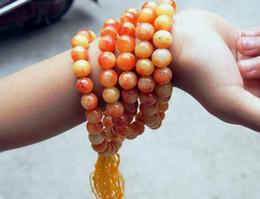 Wholesale Men Bracelet Jade - Natural orange jade 6mm ball bead 108beaded men and women charm beaded Power to think necklace bracelet