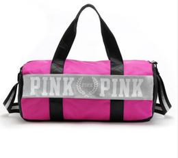 Wholesale Secret Cell - fashion girl stripe duffle bag pink Victoria beach shoulder bag large capacity secret Overnight weekender vs bag