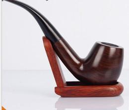 Tubulação quente on-line-New Hot Ebony Pipe Hand-free Ebony Pipe Bending Handle Cigarette Holder