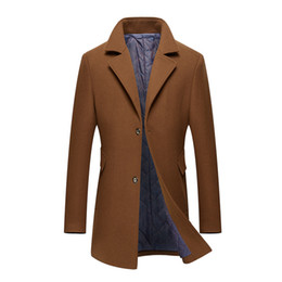 Solapas de abrigo de tela online-Abrigo de piel de otoño e invierno abrigo de paño de lana de lana largo masculino de solapas de traje de hombres de mediana edad y jóvenes