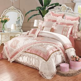 Wholesale Pink Lace Bedspreads - 2017 luxury embroidered silk cotton linens 11pcs bedding set slippery King size bed flag bedspread wedding duvet cover set