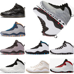Wholesale bobcat fabric - Men Basketball shoes 10 10s Cement Westbrook X I'm back Bobcats Chicago Cool Grey Powder Blue Steel Grey black white sport Sneakers 41-47