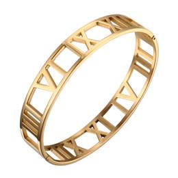 Braçadeira numeral romano on-line-MSX Pulseiras De Aço Inoxidável Pulseiras Cuff Bracelet Para As Mulheres Homem Chapeamento De Ouro 12 MM Numerais Romanos Pulseira Masculino Presente Da Jóia