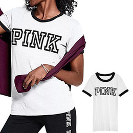 Wholesale love print long sleeve shirt - Women Love Pink Letter Summer T-shirt Girls Victoria Short Sleeve Cotton White V-Neck Crew-neck T shirts Fashion Cotton Fashion VS Top Tees