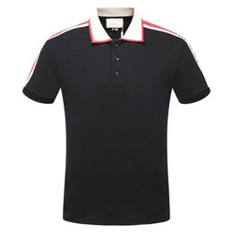 Wholesale Girls Skull T Shirt - 2018 New fashion men brand polo t-shirt embroidery collar classic t shirt short-sleeved t shirt G Striped lovers girls women men Top Tee