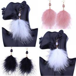 Wholesale Fairy Stone Jewelry - Wholesale 4 Styles Long Drop Stone Beads Earrings Tassel Long Gold Feather Earrings Super Fairy Feathers Earring Fashion Jewelry G346Q