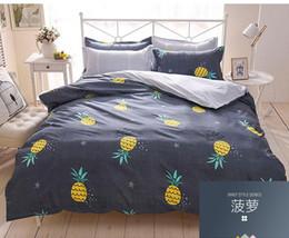 Kinder königin karikatur tröster setzt online-Home Decor 3D Ananas Tröster Bettwäsche Set Tropical Fruit Print Tagesdecken Kinder Bettwäsche Bettbezug Twin Full Queen King