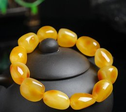 tibet bernstein silber armband Rabatt Natürliche hübsche halbe Honig Hälfte ein perforiertes Perlenarmband Männer und Frauen verfügt über Bernstein Bienenwachs Armband Armband Schmuck