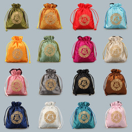 Wholesale Damask Satin - Satin Drawstring Bag Chinese Silk embroidered Brocade bag Damask Jewelry Product Packing Pouch Christmas Wedding Gift Bag 10PCs