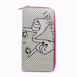 Граффити длинные кошельки онлайн-M336 мультфильм кошелек для женщин палец глаз граффити искусственная кожа длинный кошелек студентов оптом