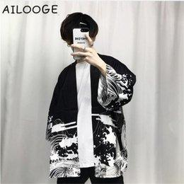 2018 été hommes kimono vêtements japonais streetwear casual kimonos vestes harajuku japon style cardigan outwear ? partir de fabricateur