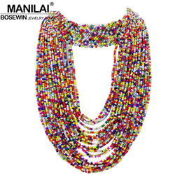 Wholesale Handmade Beaded Necklaces For Women - whole saleMANILAI Bohemia Handmade Beaded Statement Necklaces For Women 2016 Big Jewelry Collar Choker Long Tassel Necklace&Pendants