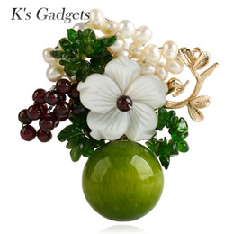Wholesale large pearl flower brooch - K's Gadgets Green Blue With Natural Stones Safety Pin Brooch Shell Flowers Simulated Pearl Fashion Handmade Large Brooches Women