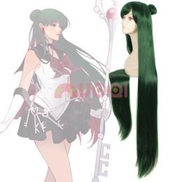 Wholesale Pluto Moon - Sailor Moon Pluto Meiou Setsuna Dark Green Hair Long Straight Cosplay Full Wig