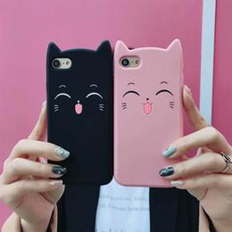 Capas de telefone de sorriso on-line-One piece 3d silicone de cat bonito phone case para iphone 8 7 6 6 S Plus X Coque Fundas Sorriso Rosto Tampa Traseira