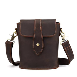 f4fb264b1b Genuine Leather Mens Bags Male Crossbody Bags Small Flap Casual Messenger  Bag Men s crazy horse leather Tote Bag vintage