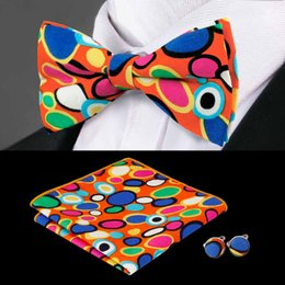 Wholesale steel neck cuff - Fashion BowTie Set Colored Dots lovely With Handkerchief Cuffs Cotton Print Popular Bow Wedding Casual Bow 2018 New ListingTie LH-606