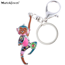 2019 New Style Cartoon Monkey Charm Keychains Novelty Item Resin Rhinestone Enamel Gold Color Keyrings Keyholder Jewelry For Women Children Key Chains