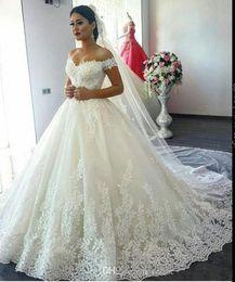 Bordado, casório, vestidos, desligado, ombro on-line-Fora do ombro rendas vestido de baile vestido de noiva com espartilho vestido de noiva branco do assoalho-comprimento vestido de noiva bordado