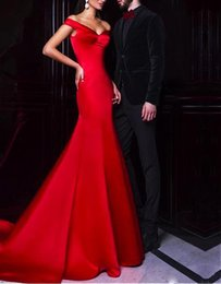 Wholesale Ombre Short Dress - Vestidos Cortos de Gala Modest Long Mermaid Prom Dresses 2018 Off Shoulder Sweetheart Red Satin Ombre Evening Party Dress Women Party Gowns