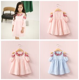 Wholesale mermaid mid length dress - INS Summer Girl dress Cotton folk-custom Dress Strapless Embroidery Princess Dress For Girls Children's Clothing Apparel LC857